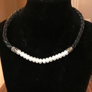 Retired Brighton Pearl Braided Leather Necklace